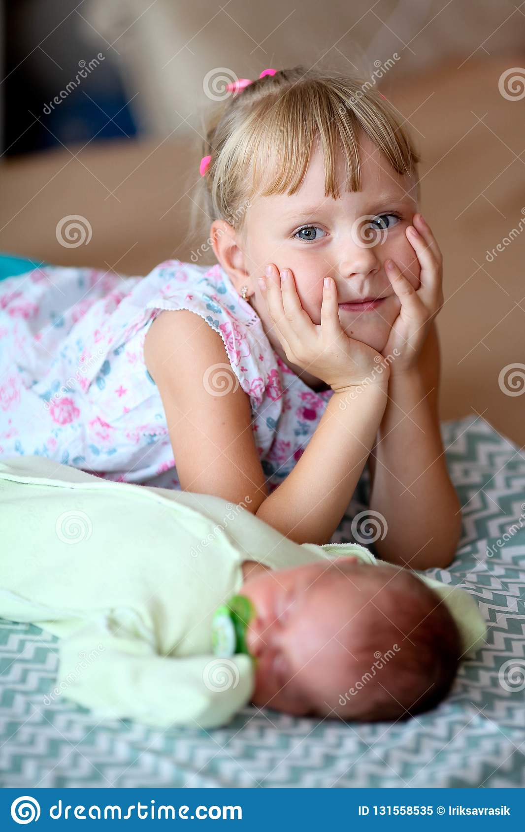Little Sister Hugging Her Newborn Brother Toddler Kid