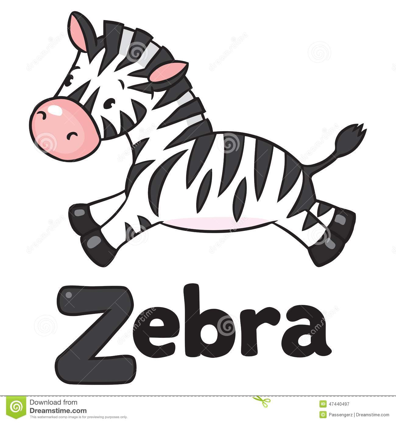 Little Zebra For Abc Alphabet Z Stock Vector