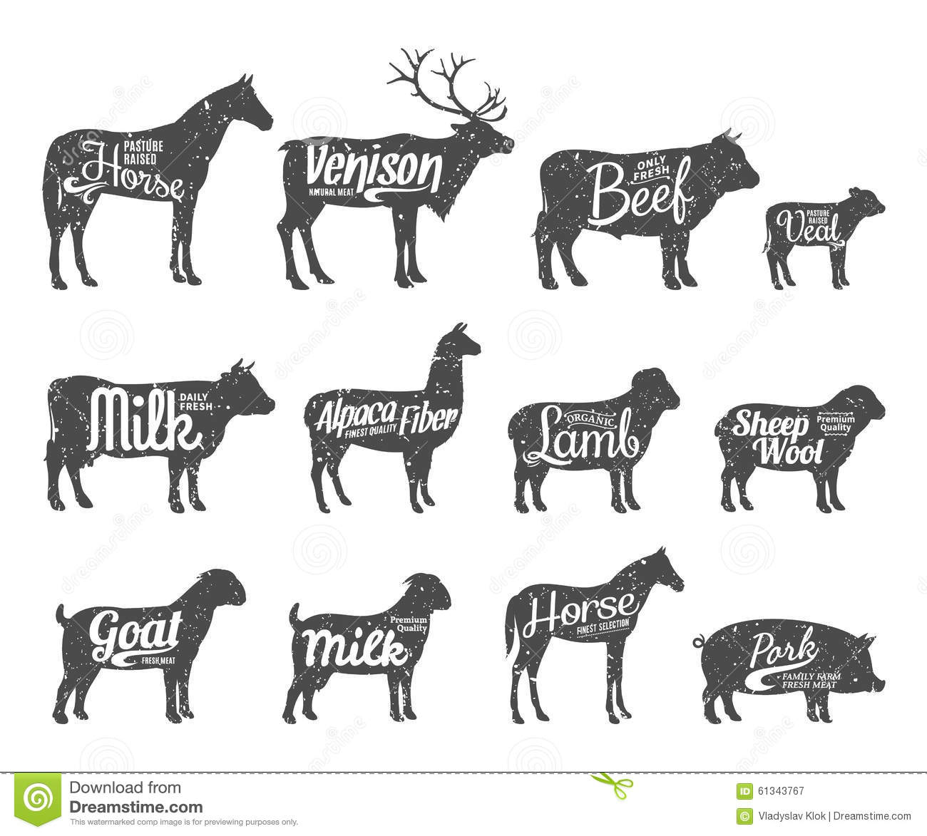 Livestock Silhouettes Collection Livestock Labels