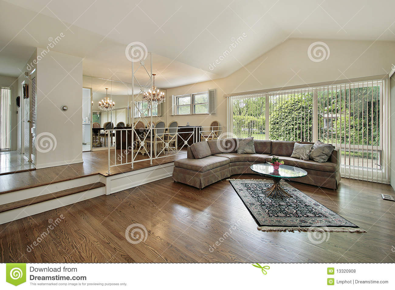 Living And Dining Room In Split Level Home Stock Photo