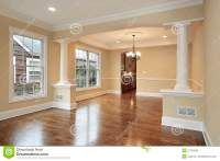 Living And Dining Room With White Pillars Stock Image ...