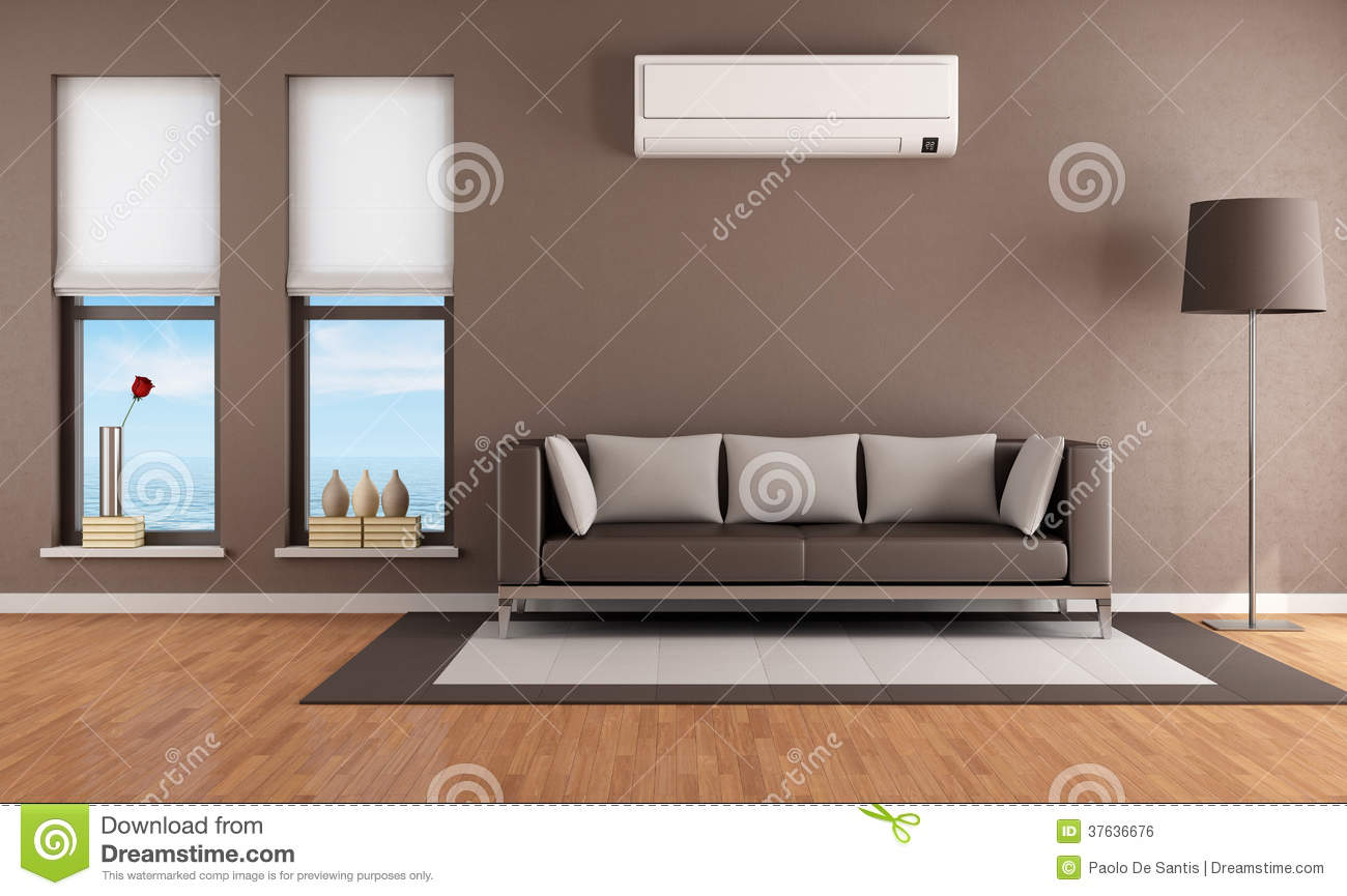 black sofa living room images large grey corner uk with air conditioner royalty free stock image ...