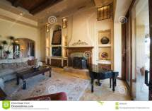 Living Room With Baby Grand Piano Home Stock