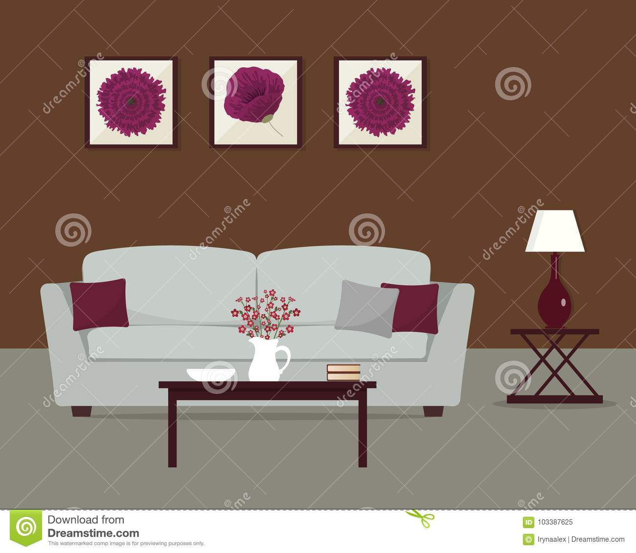 burgundy and brown living room amazon com furniture 2 in a colors stock vector