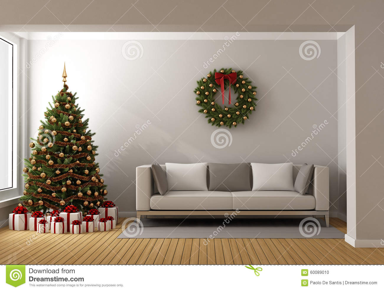 Living Room With Christmas Tree Stock Illustration  Image