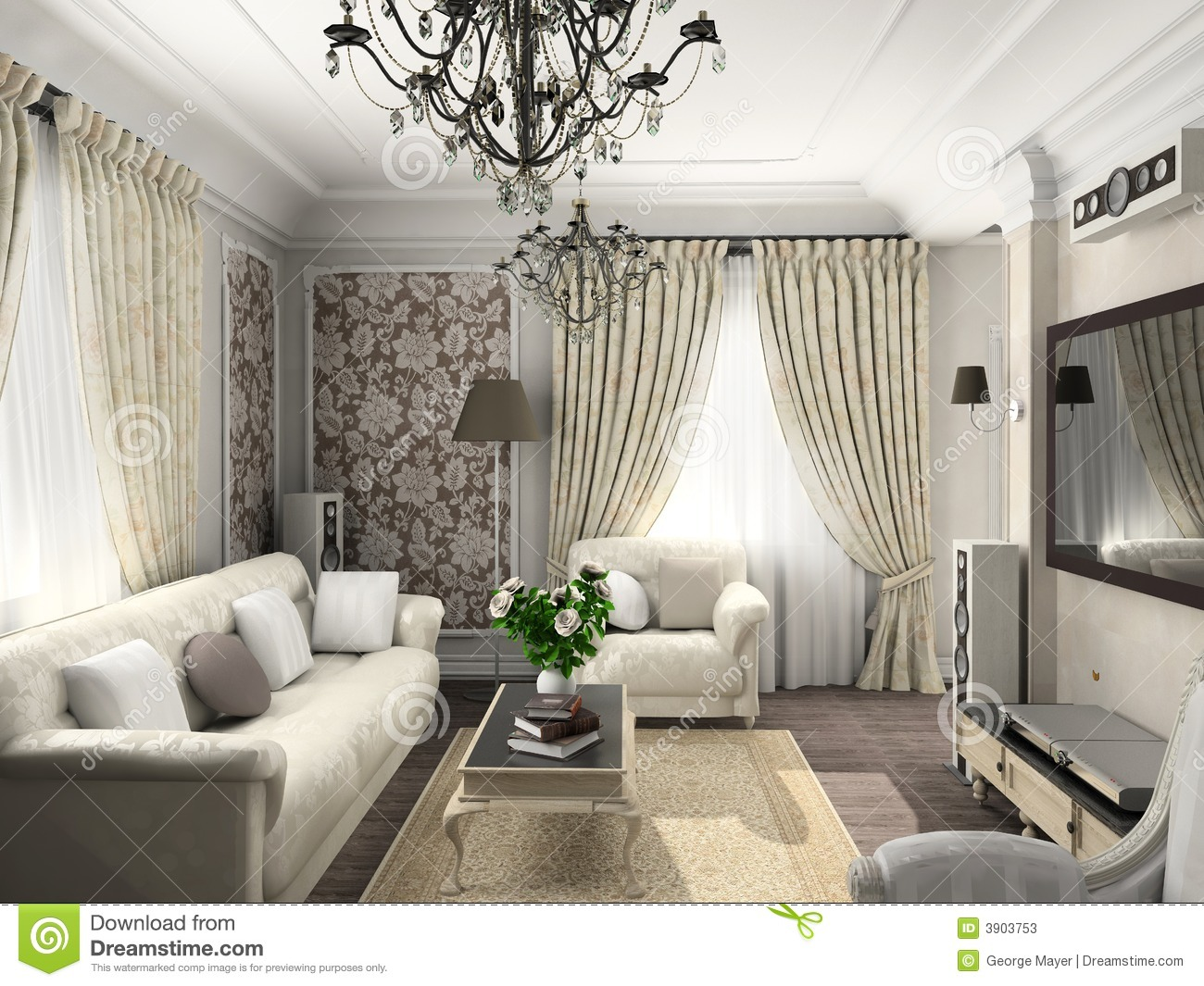 Living Room With The Classic Furniture Stock Illustration