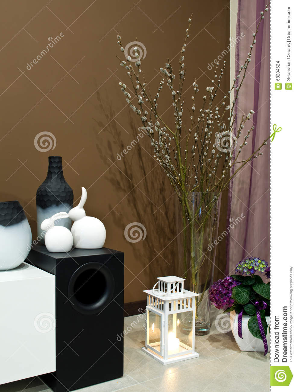 photos of nicely decorated living rooms walmart rugs for room corner stock photo image vase a with spring branches hydrangea flowers easter bunnies on bass loudspeaker home decoration concept