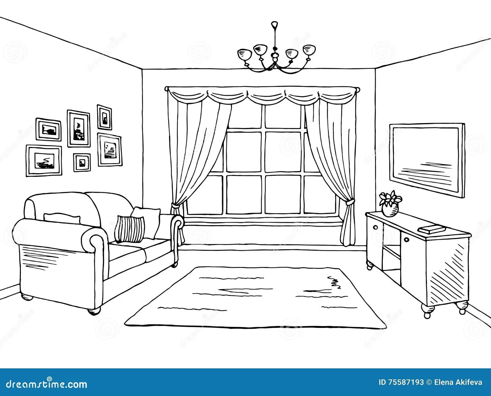 Living Room Graphic Black White Interior Sketch Illustration Stock Vector  Illustration of hand
