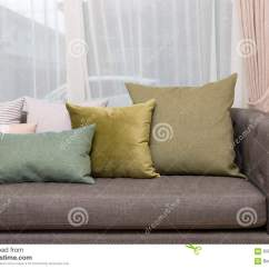 Green Cushions Living Room Beach Style Images With Pillow On Sofa Stock Image Detail Of Modern