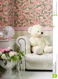 Living Room Interior Corner With Teddy Bear, Wall Paper ...