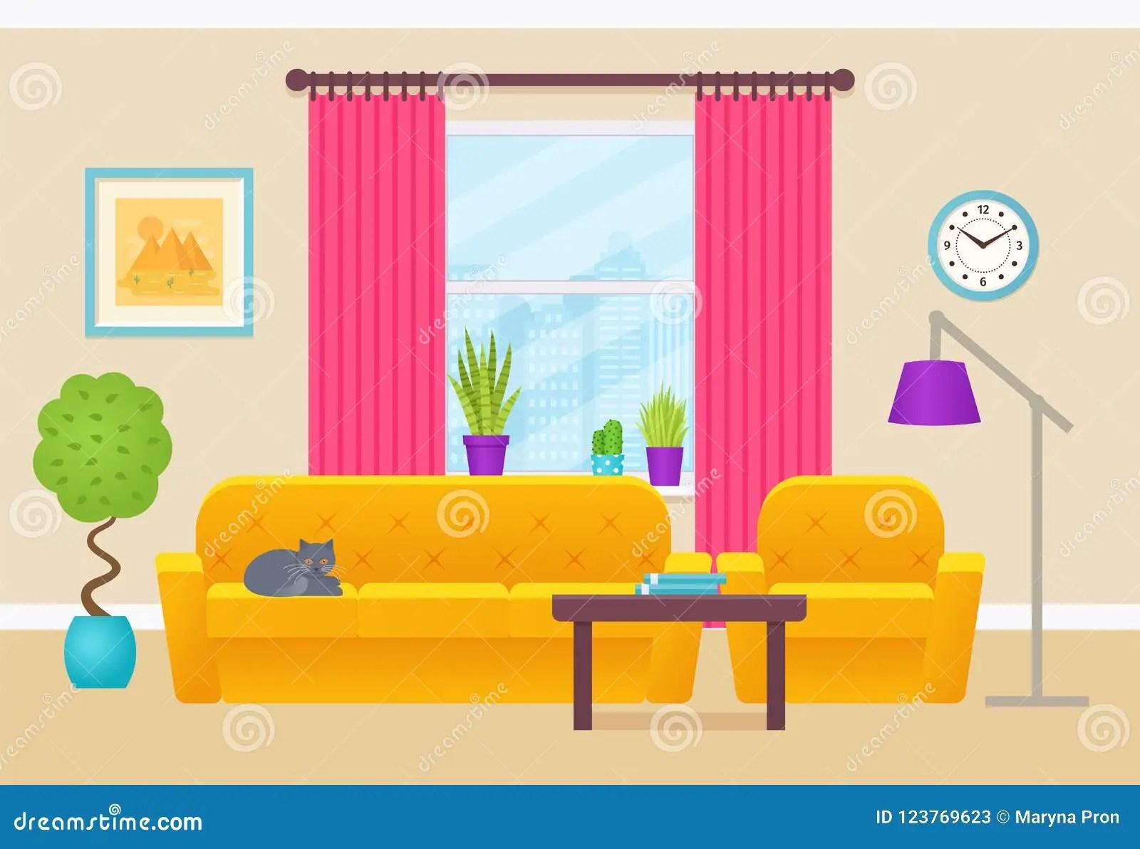Living Room Interior Vector Illustration Flat Design Stock Vector Illustration Of Interior Design 123769623