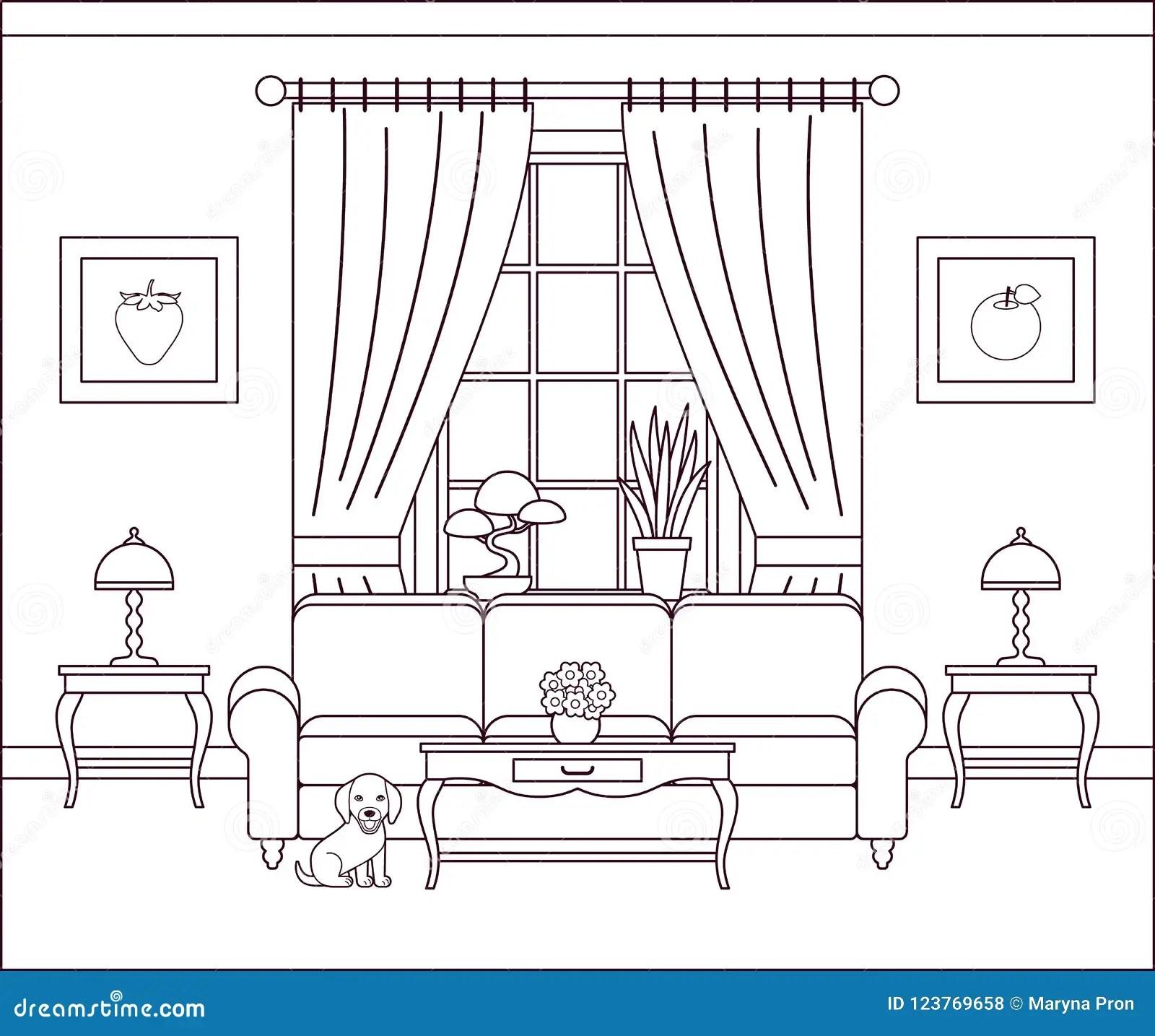 Living Room Line Interior. Vector Illustration. Stock