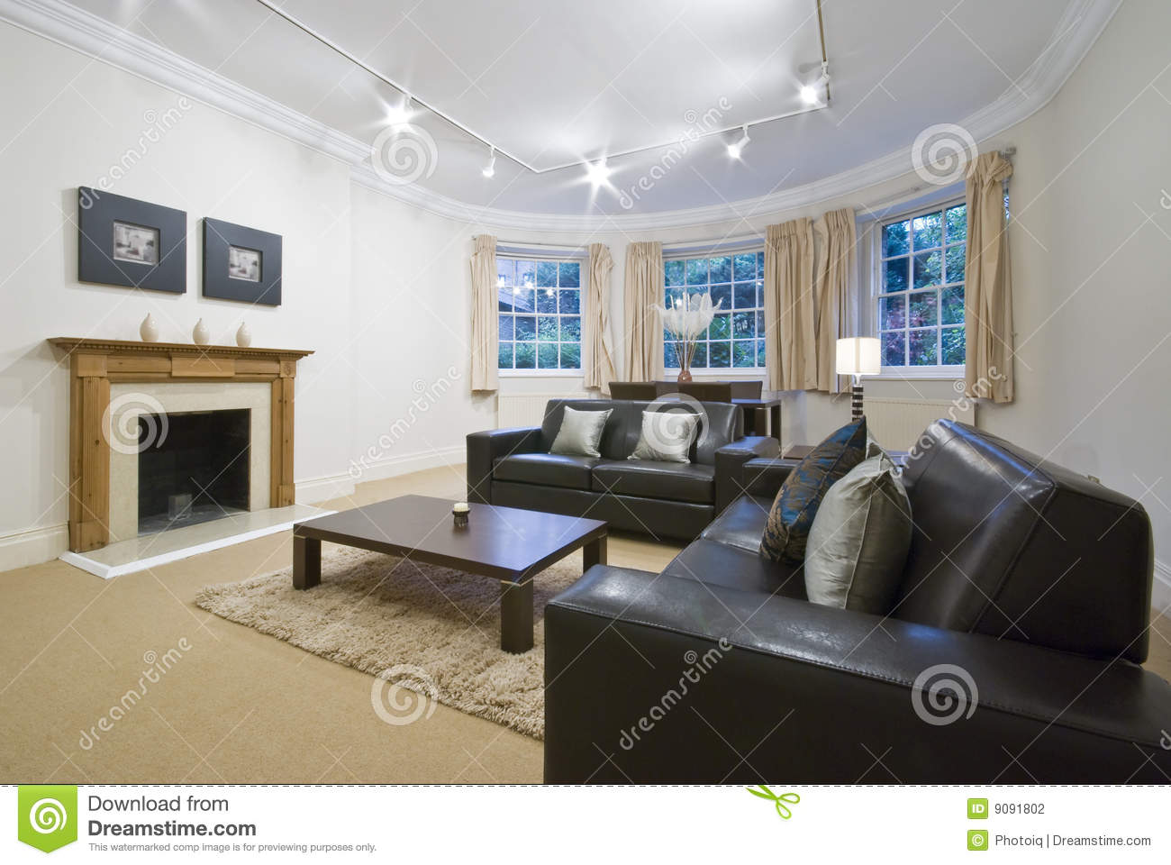 images of living rooms with dark brown leather furniture room rug ideas large bay window stock photography ...