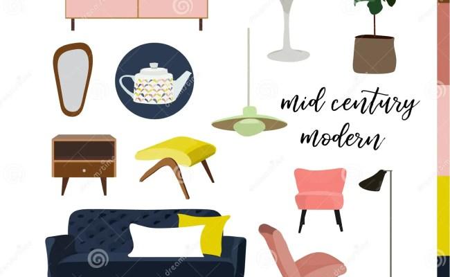 Vector Interior Design Watercolor Illustration Living