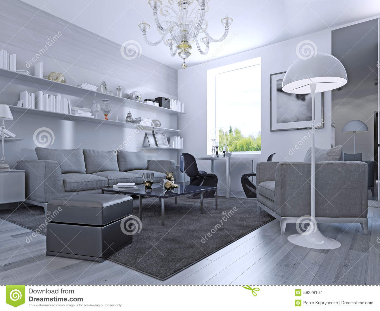 Living Room In Modern Style Stock Illustration