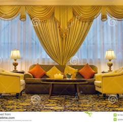 Living Room Leather Chairs Fabric Covered Oak Dining With Ornate Curtains And Furniture Stock Image - Image: 32706431