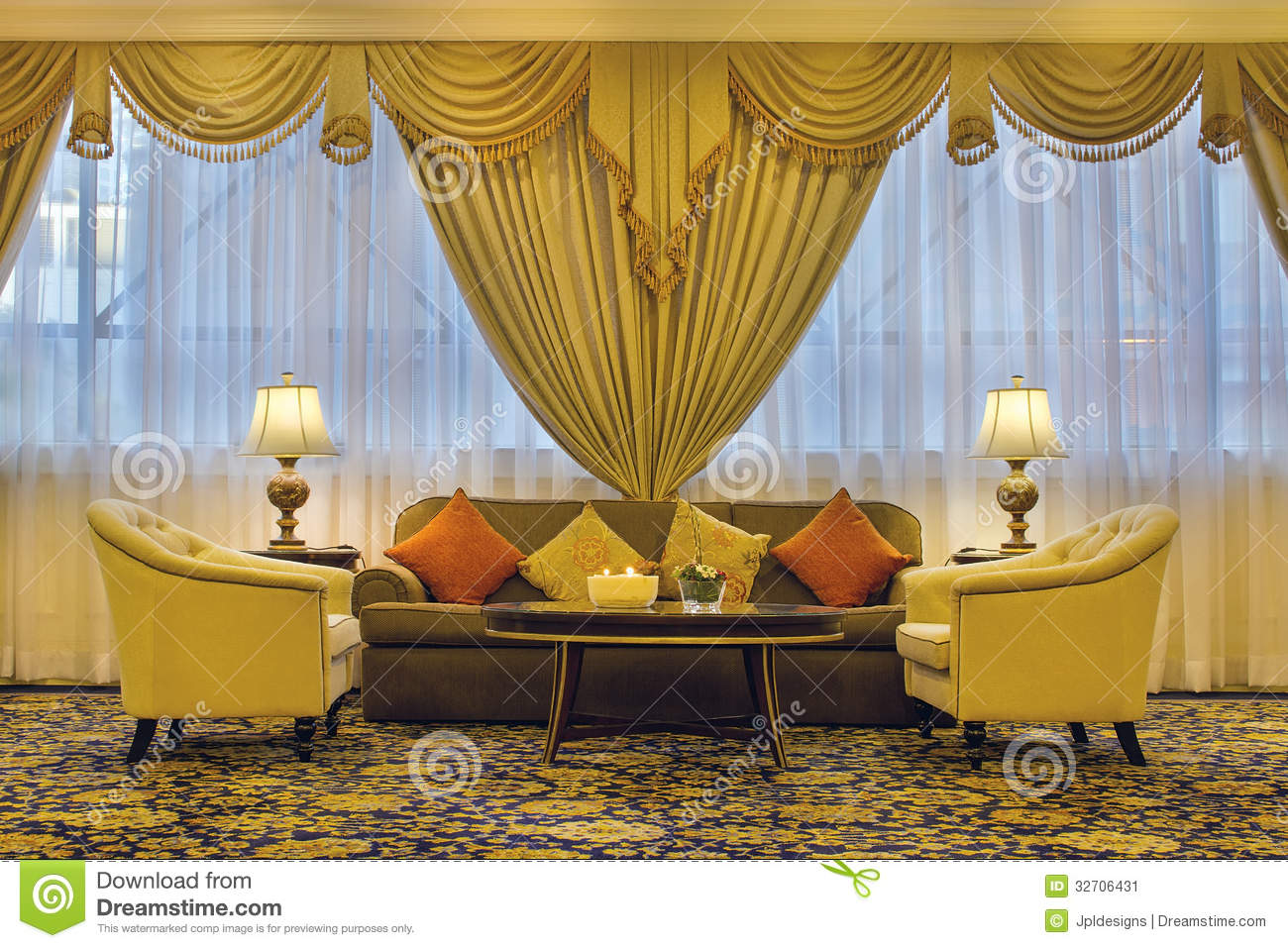 carpet for living room small ideas with mirrors ornate curtains and furniture stock image ...