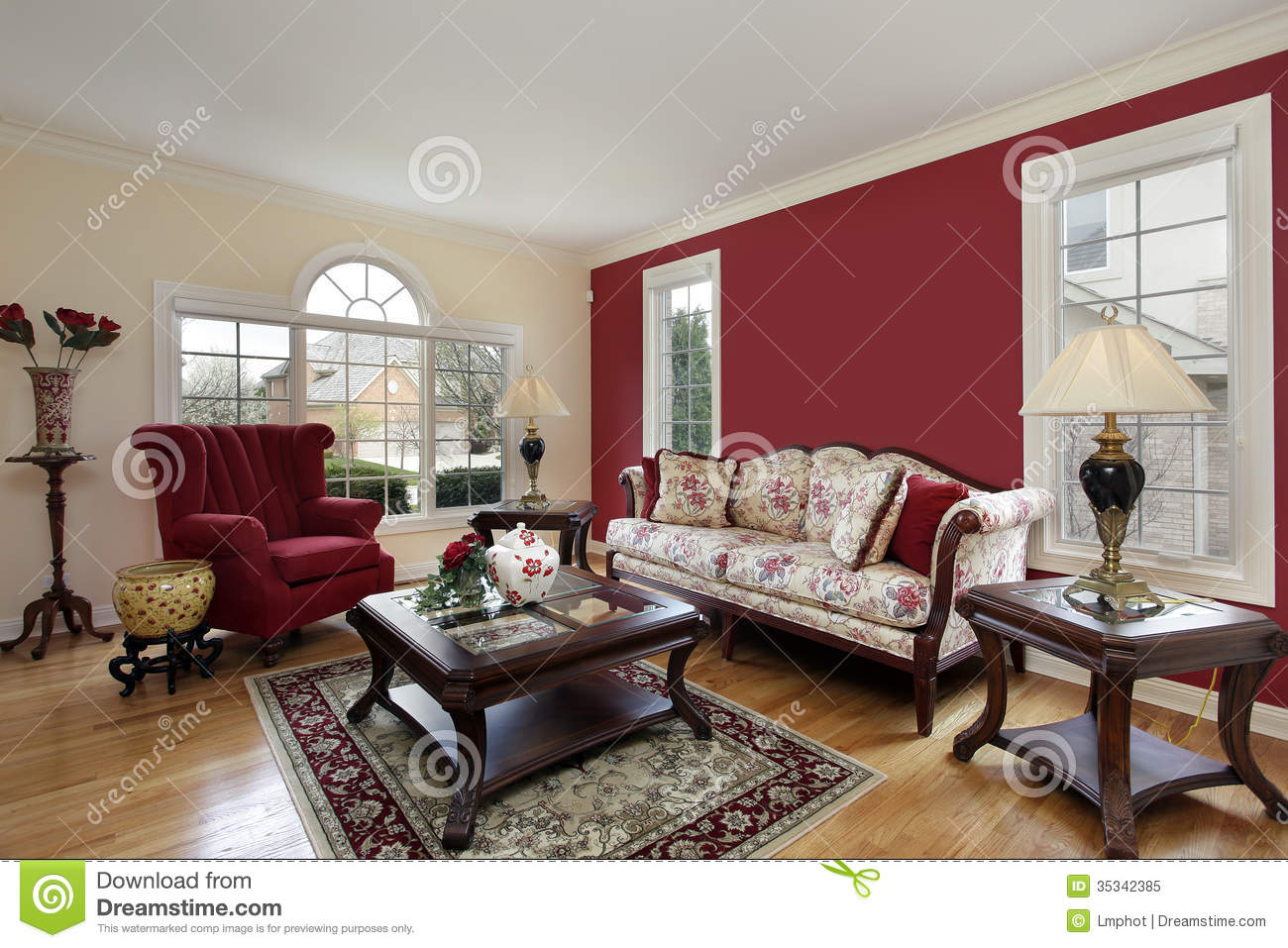 living room with red