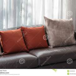 Red Sofa Pillows Drewniana Z Materacem Futon Ceny Living Room With And Stock Photo Image