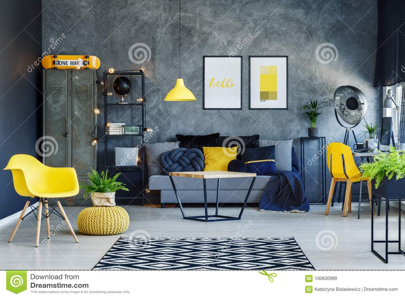 pouf in living room the church barbados with yellow stock image of cozy modern