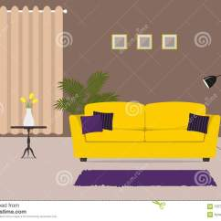 Purple Living Room Furniture Sofas Beach Paint Colors For With A Yellow Sofa And Pillows Stock Vector