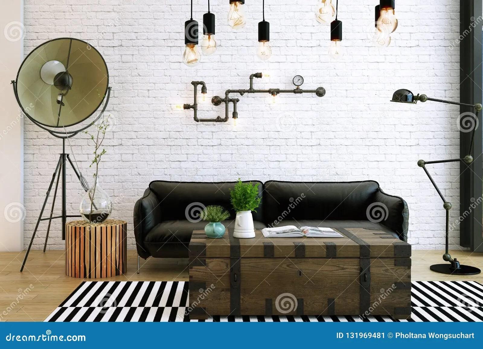 Livingroom Design Interior Of Industrial Style Stock Illustration Illustration Of Lifestyle Loft 131969481