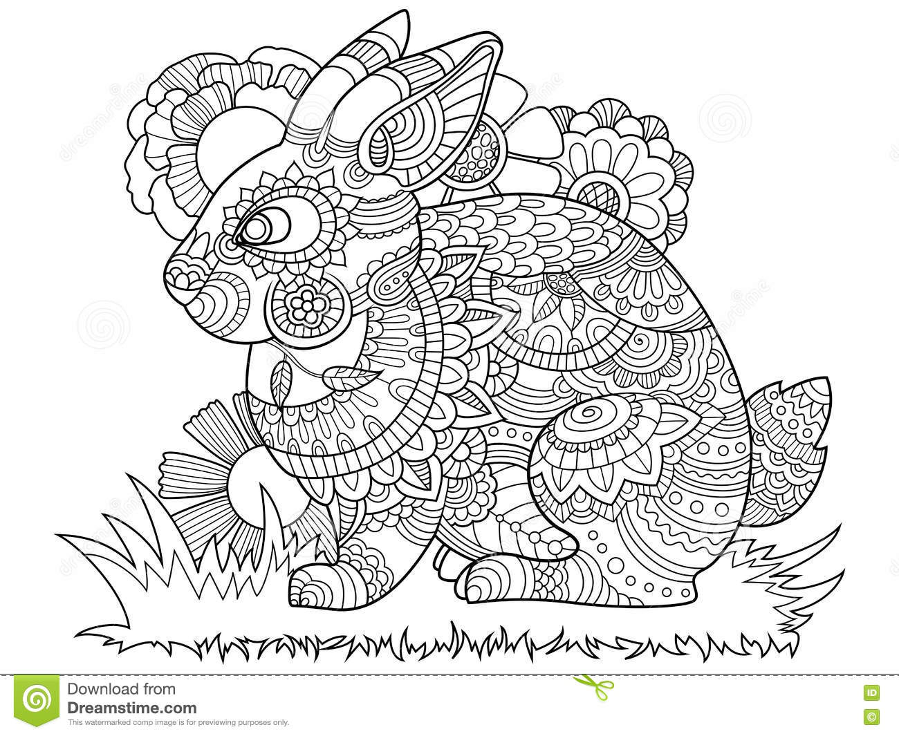 coloriage adulte lapin