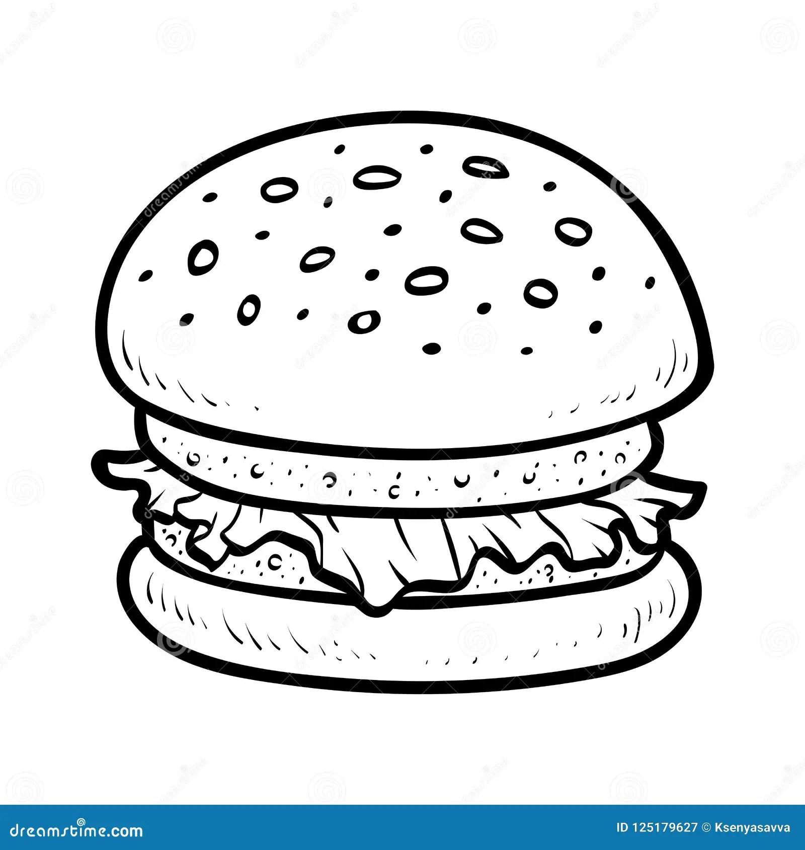 Livre De Coloriage Hamburger Illustration De Vecteur