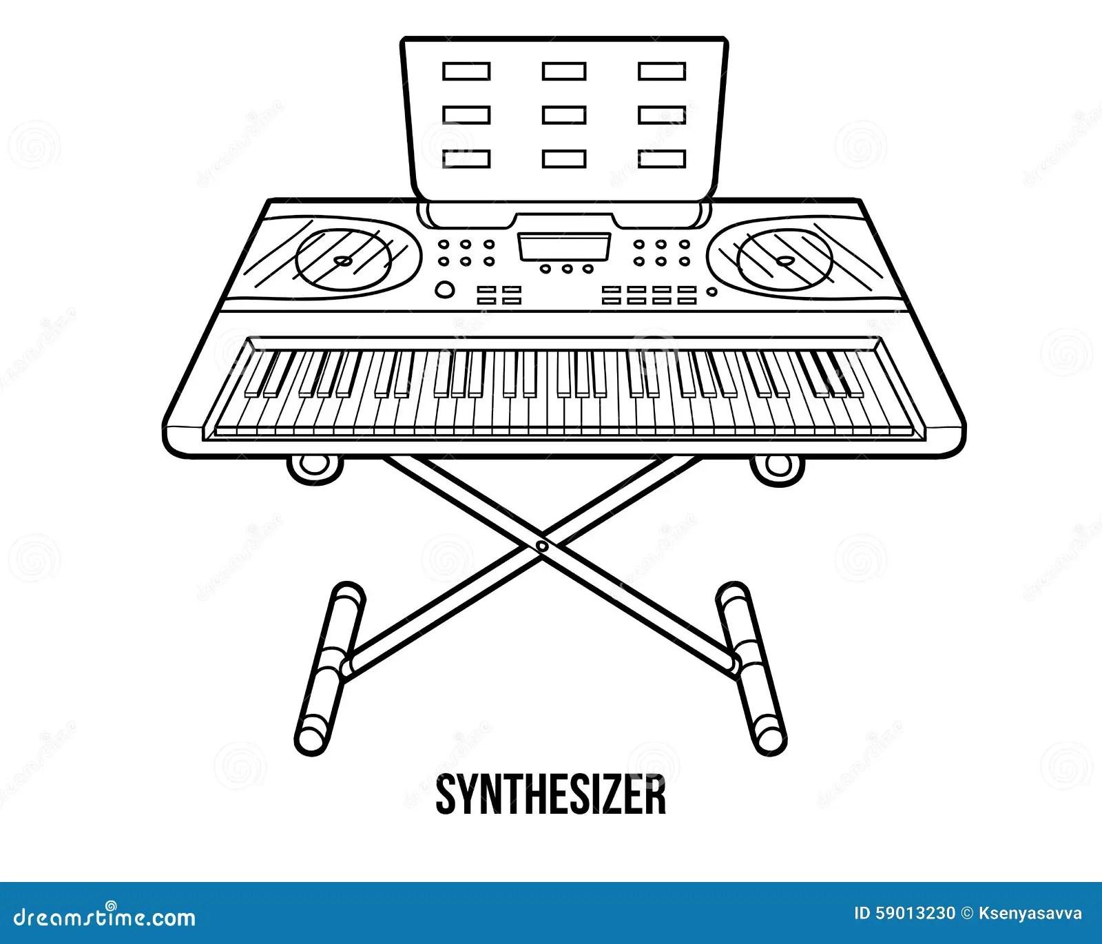 Livre De Coloriage Instruments De Musique Synthetiseur