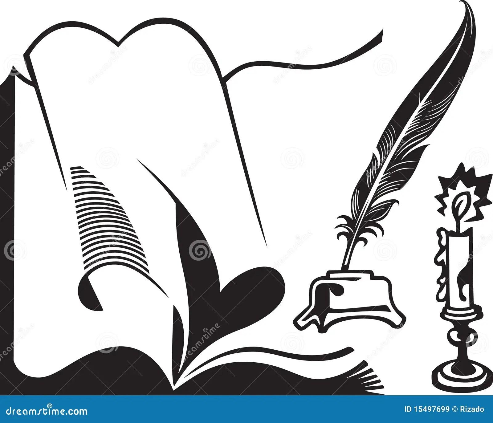 Livro Quill E Vela Abertos Ilustracao Do Vetor