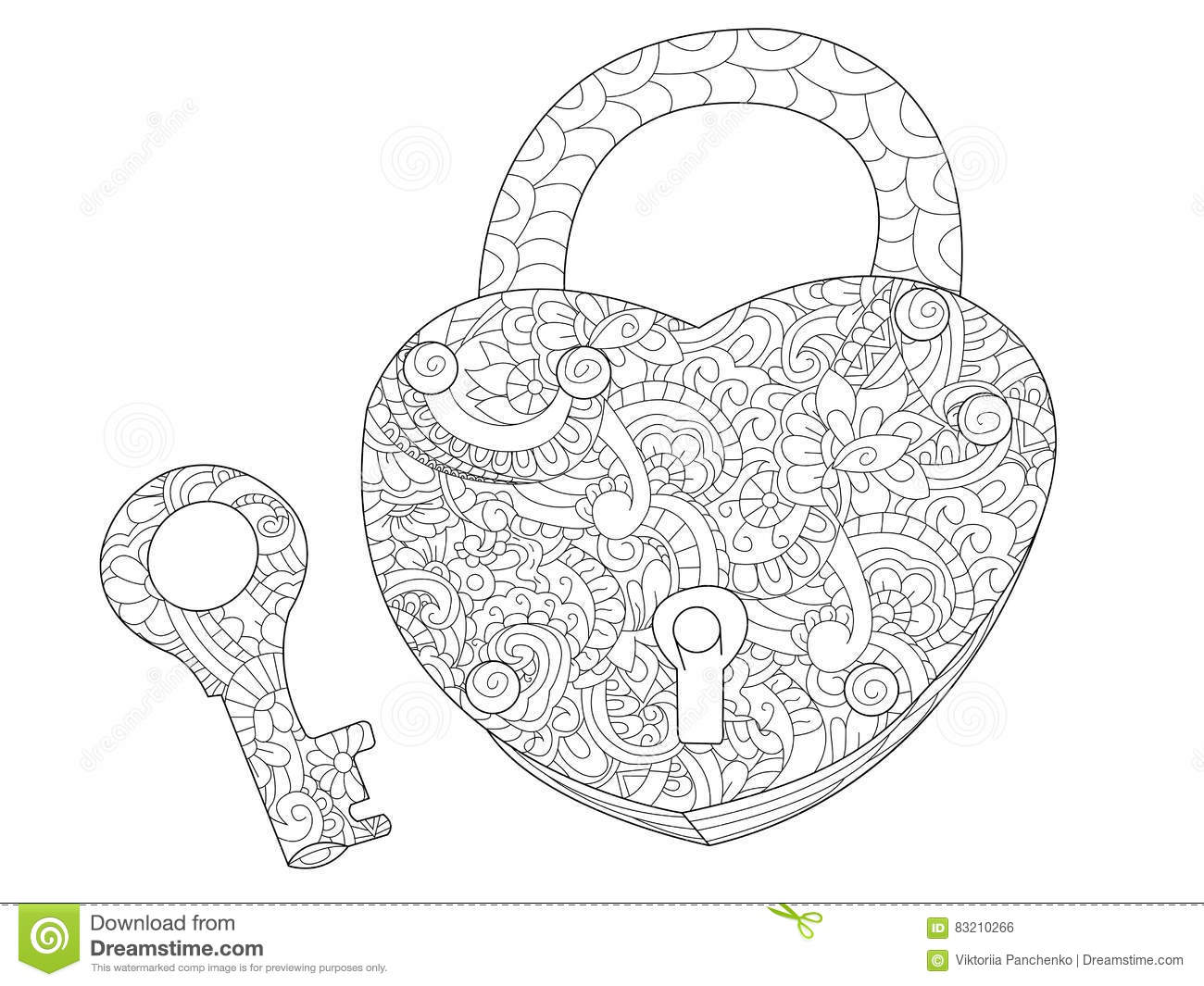 Lock And Key Coloring Book For Adults Vector Stock Vector