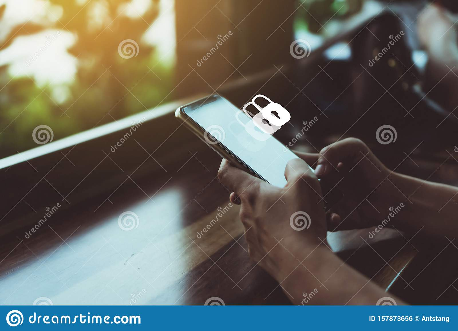 Lock Sign Security System Icon Screen On Smartphone Show