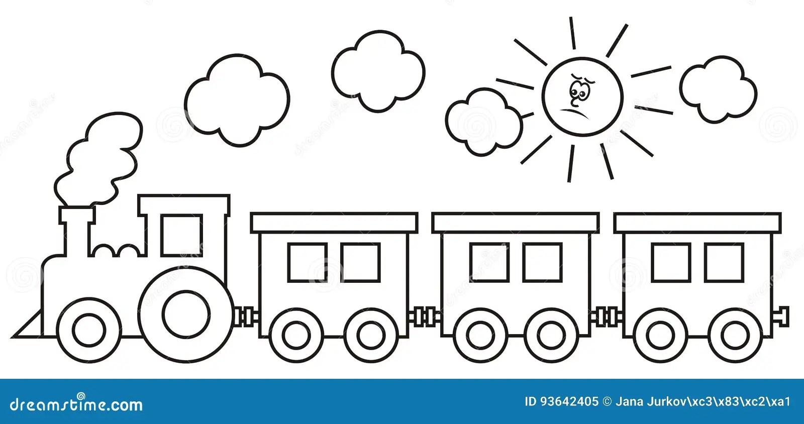 Locomotiva Di Vapore Con I Vagoni Illustrazione Vettoriale
