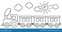 Locomotiva Di Vapore Con I Vagoni Illustrazione Vettoriale ...