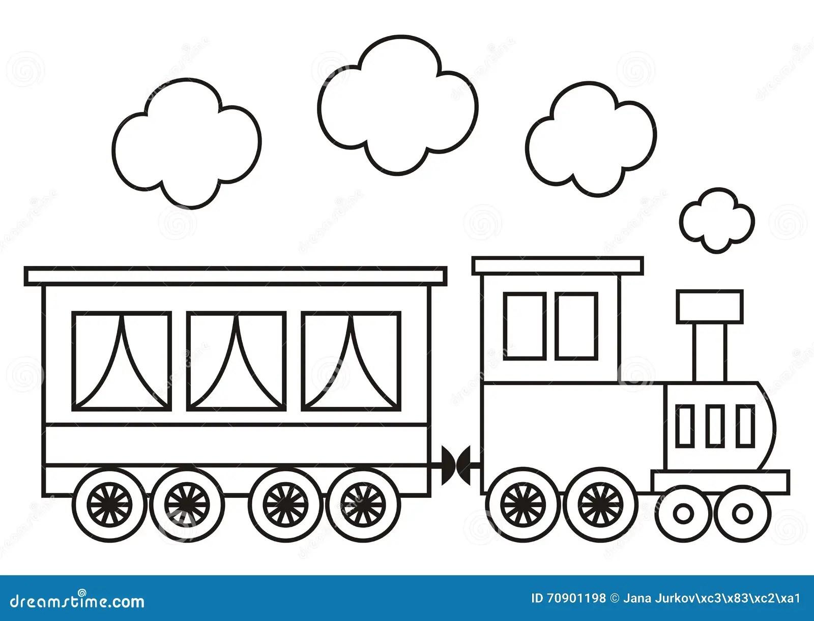 Locomotiva, Libro Da Colorare Illustrazione Vettoriale