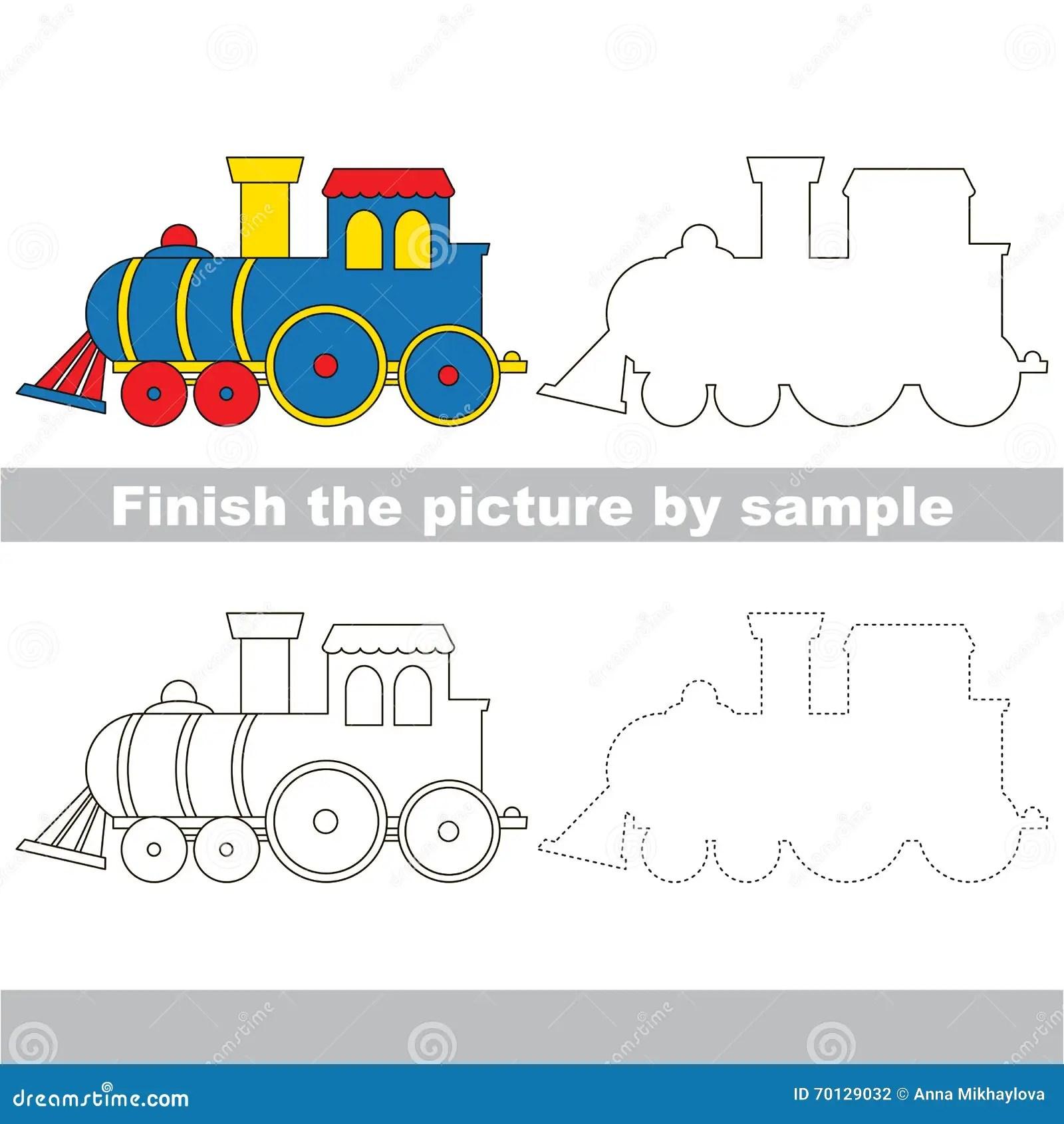 Locomotive Drawing Worksheet Stock Vector