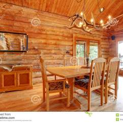 Rustic Wood Kitchen Table And Chairs Hanging Egg Chair With Stand Uk Log Cabin Dining Room Interior. Royalty Free Stock Photo - Image: 24498905