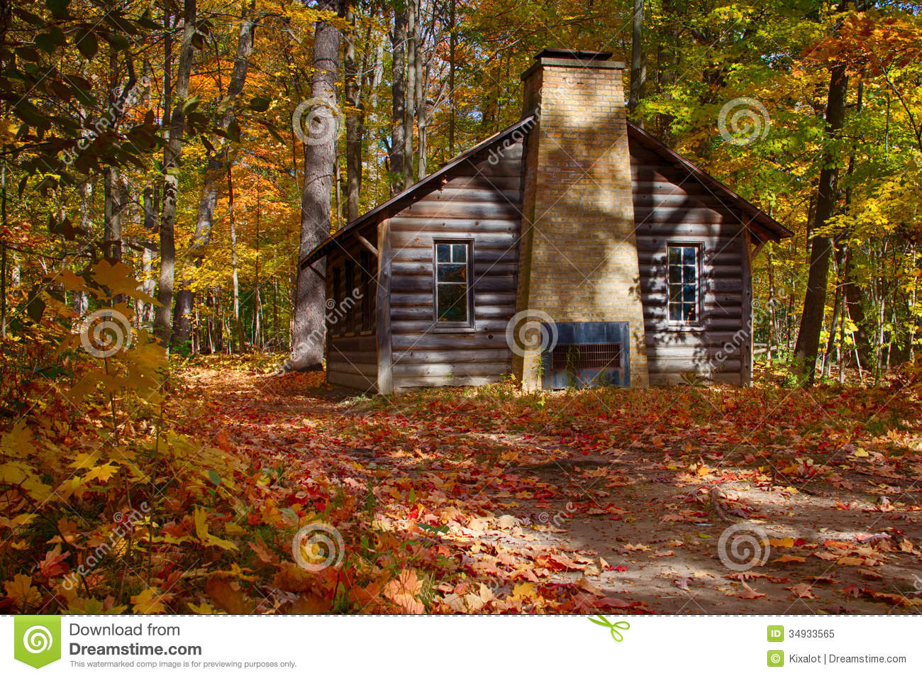 Free Fall Waterfall Desktop Wallpaper Log Cabin In Fall Woods Royalty Free Stock Photo Image