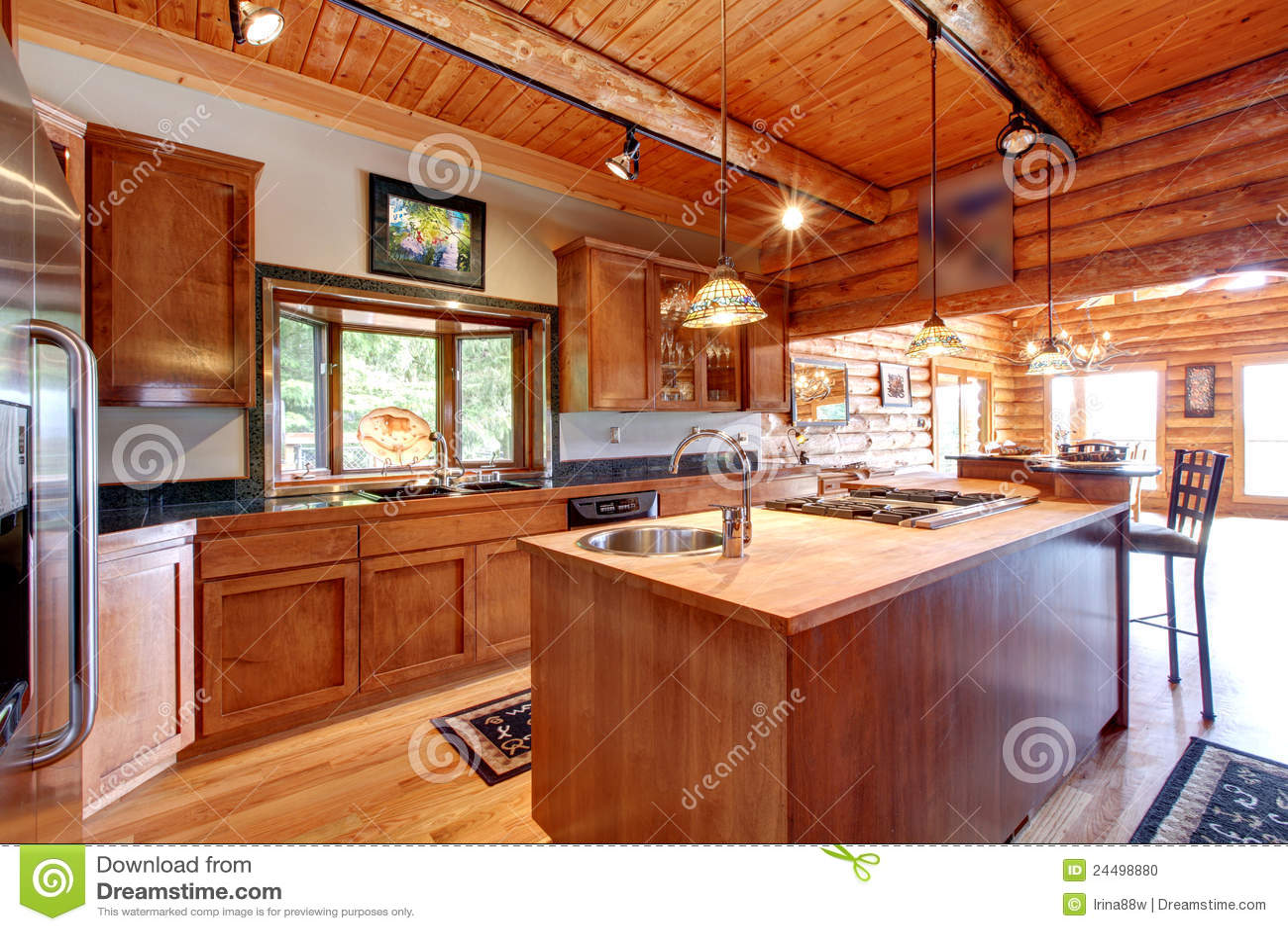 Log Cabin Large Kitchen Interior Stock Photo  Image