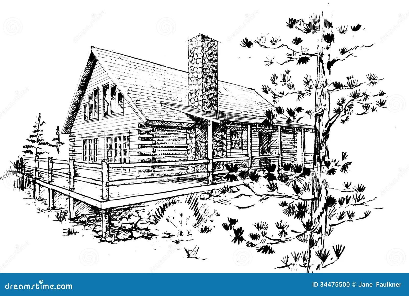 Log House stock illustration. Illustration of retreat