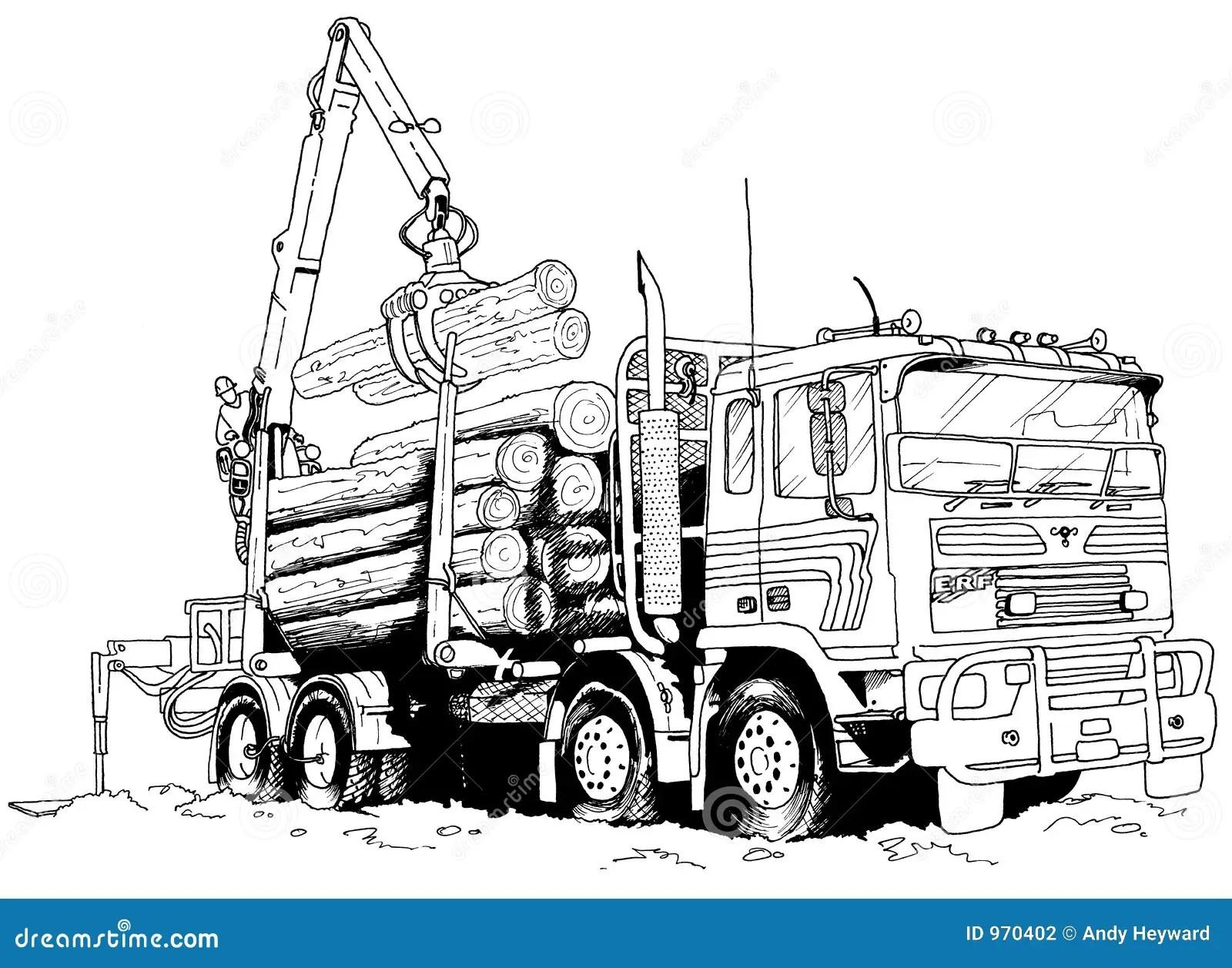 Logging Truck Stock Illustration Illustration Of Drawing