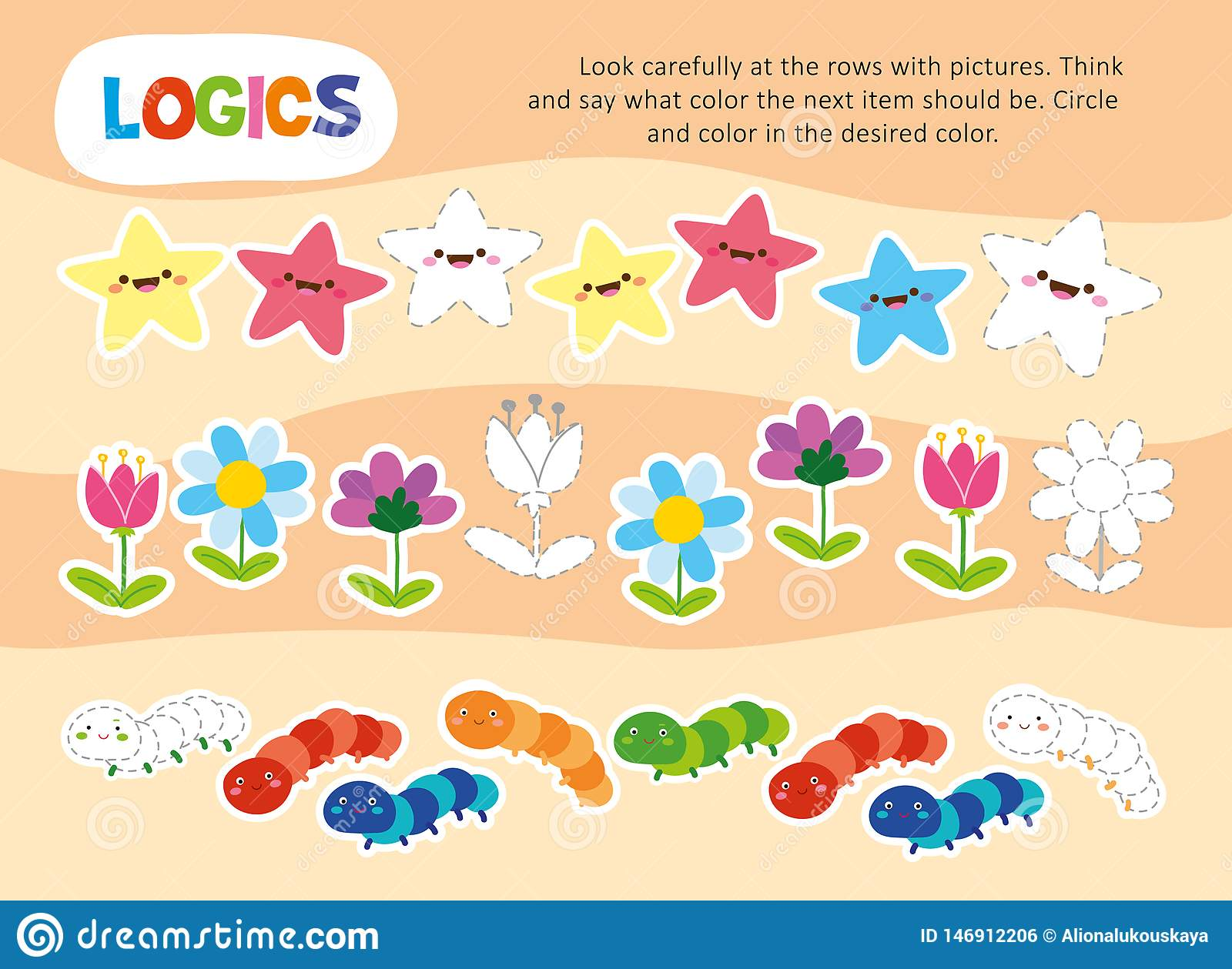 Logic Color Chain Kid Game Printable Worksheet Stock