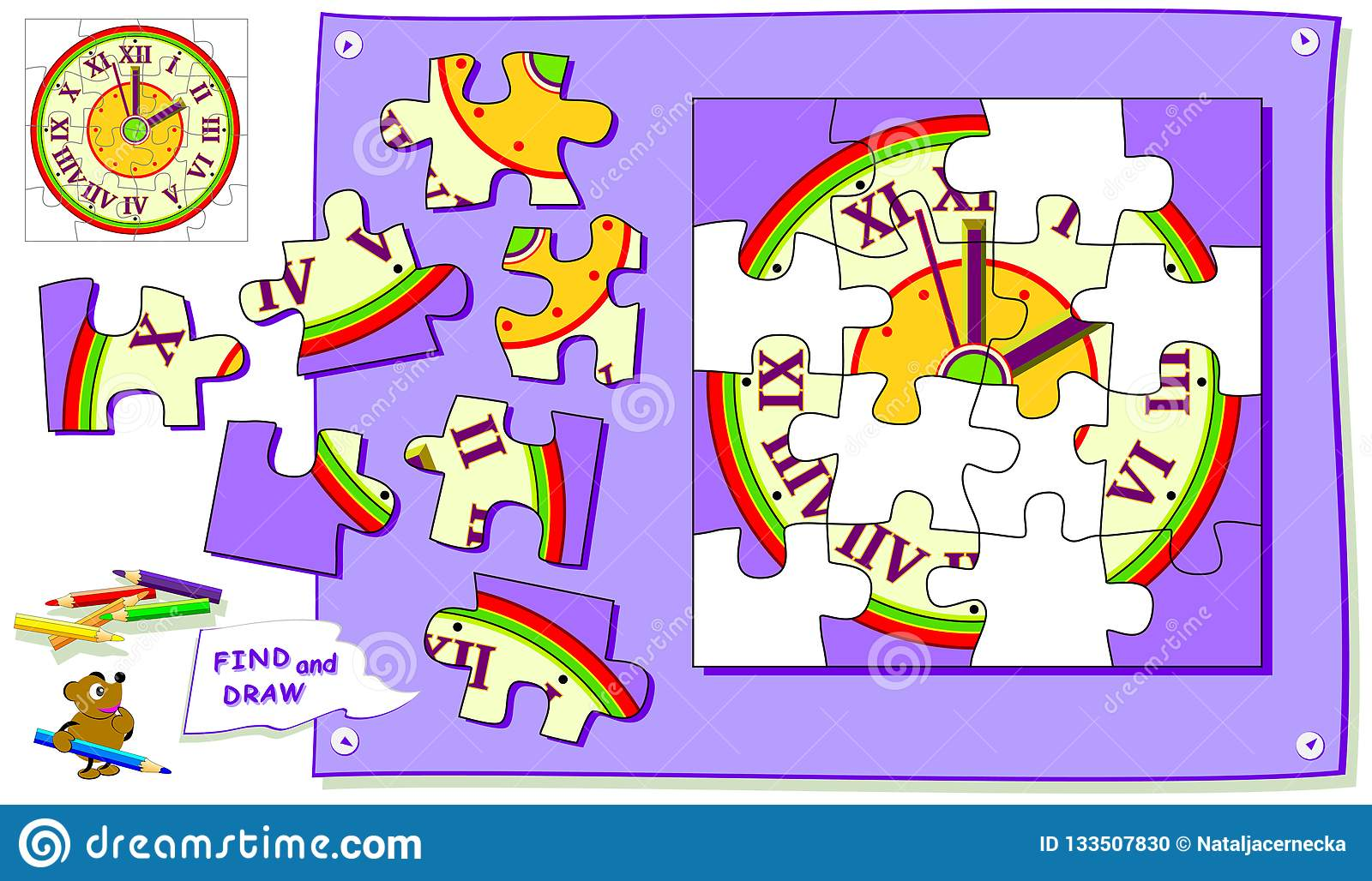 Logic Puzzle Game For Kids Need To Find The Place For