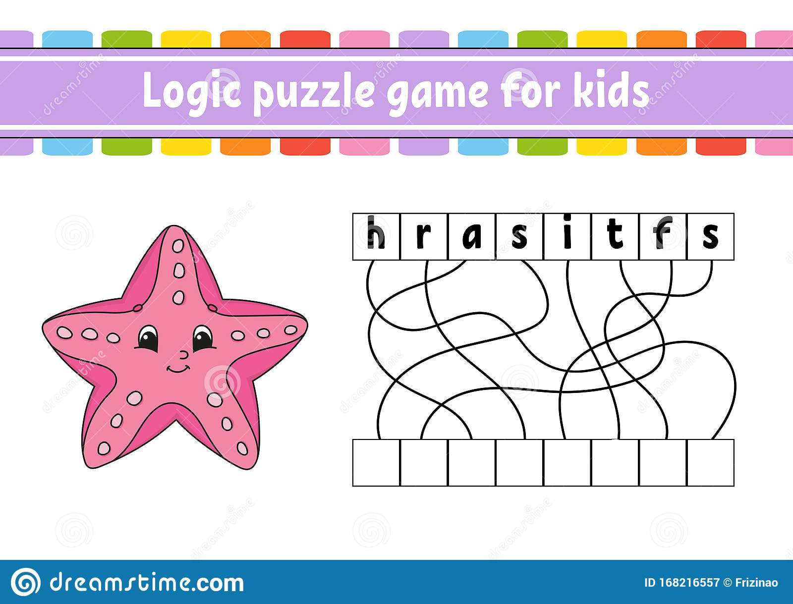 Logic Puzzle Game Learning Words For Kids Sea Starfish