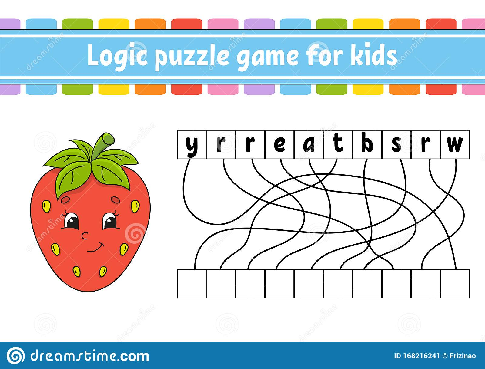 Logic Puzzle Game Red Strawberry Learning Words For Kids