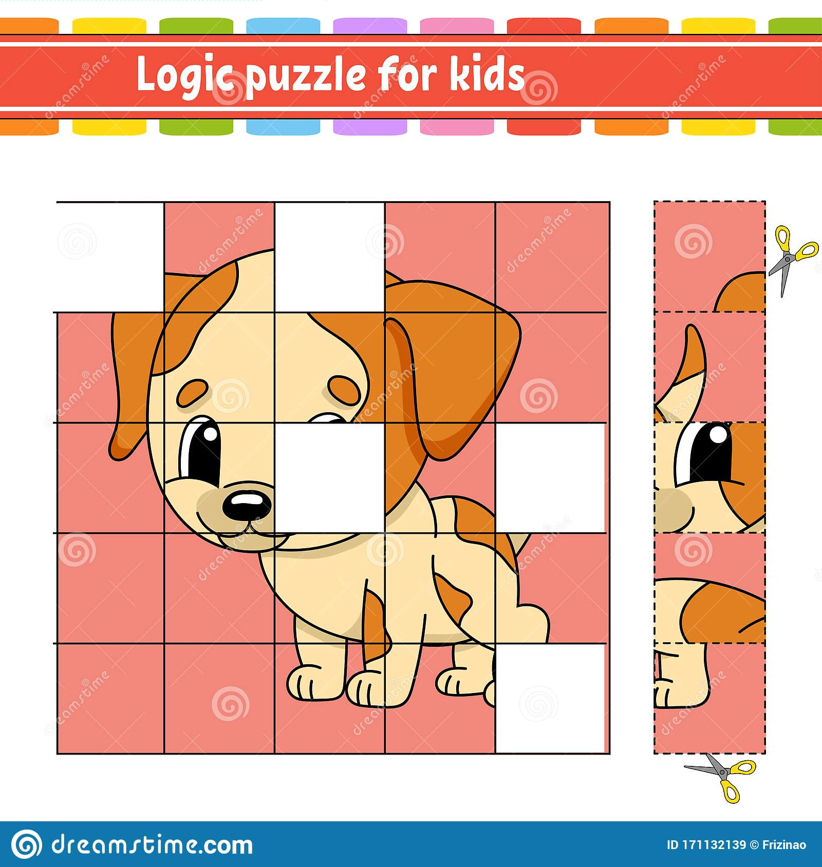 Logic Puzzle For Kids Dog Animal Education Developing