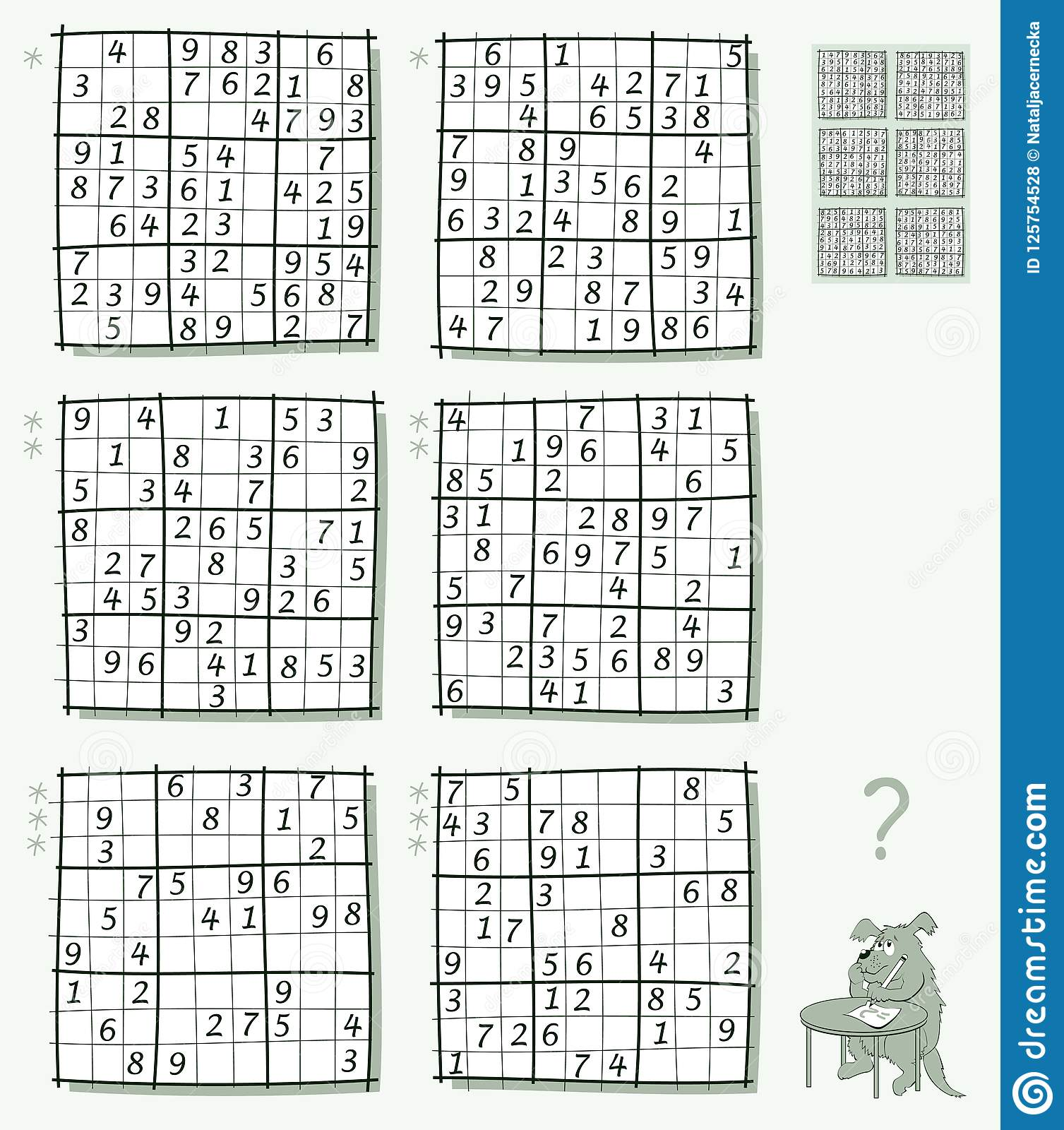 Logic Sudoku Game Set Of Different Level Puzzles