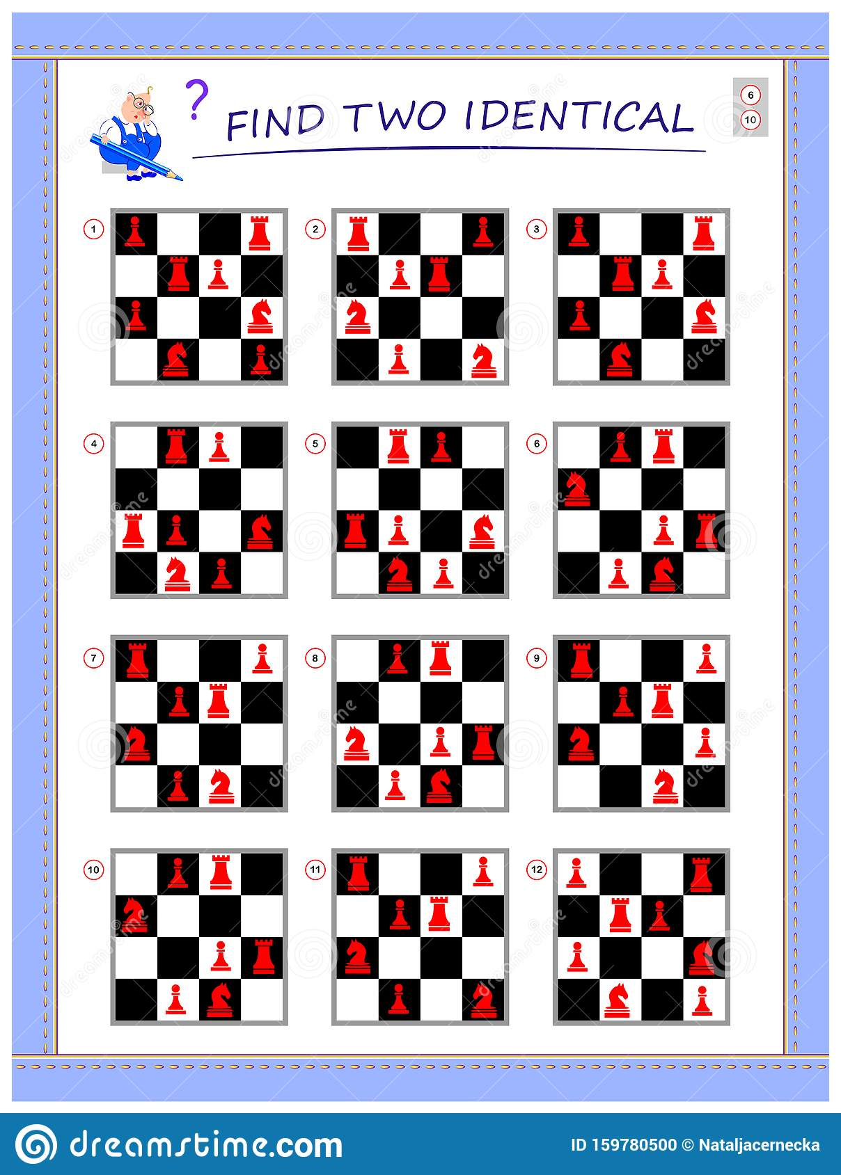 Logical Puzzle Game For Little Children Need To Find Two