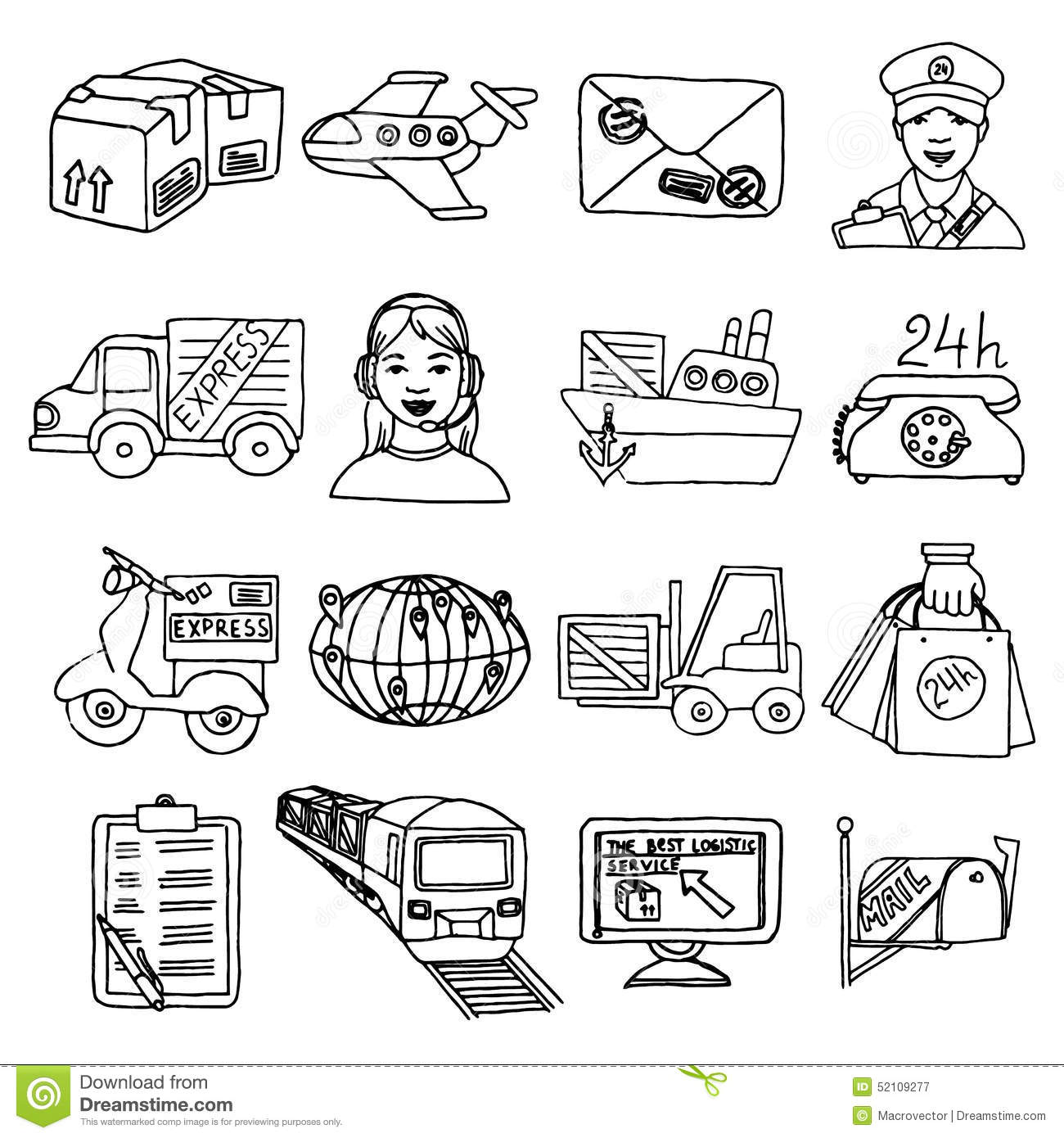 Logistic Icons Set Stock Vector