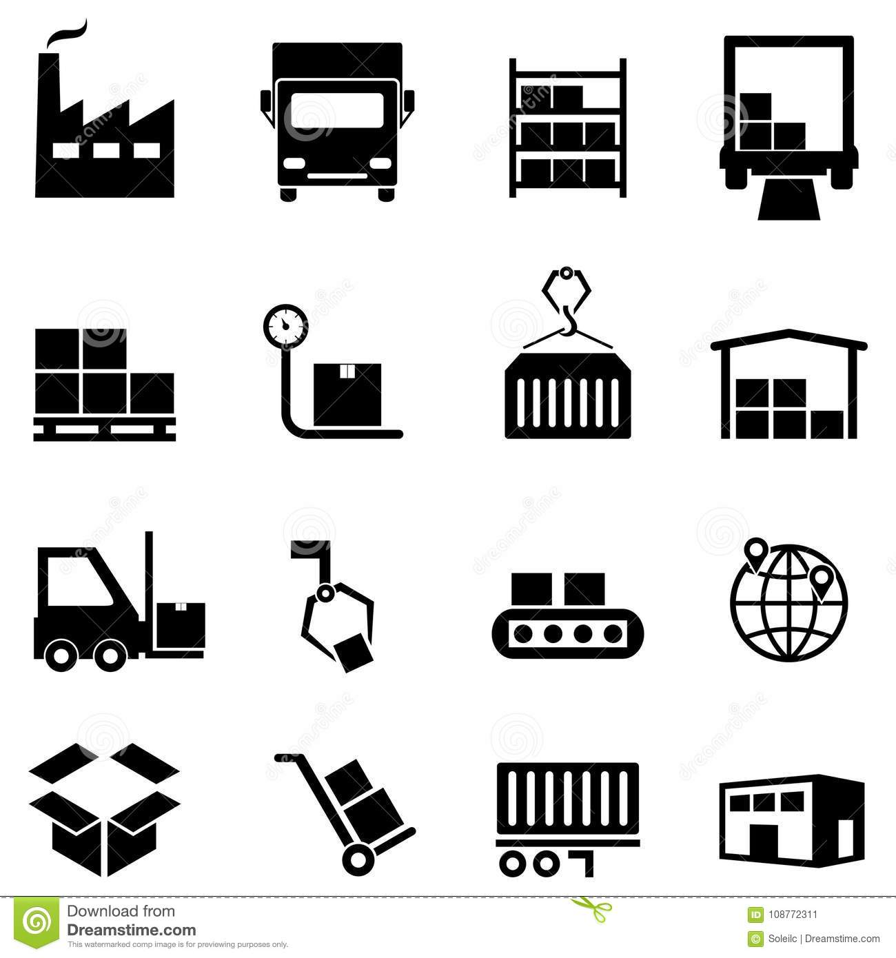 Logistics Distribution And Warehouse Icons Stock Vector